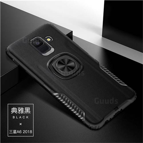 Knight Armor Anti Drop PC + Silicone Invisible Ring Holder Phone Cover for Samsung Galaxy A6 (2018) - Black