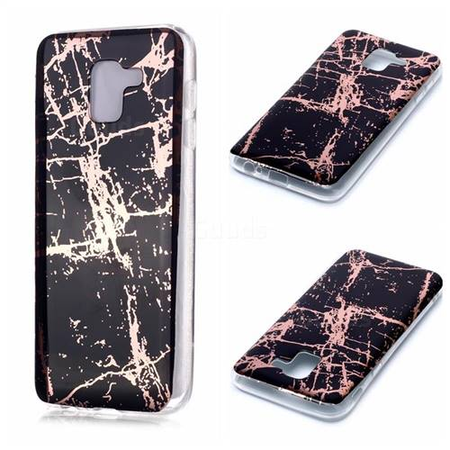 Black Galvanized Rose Gold Marble Phone Back Cover for Samsung Galaxy A6 (2018)