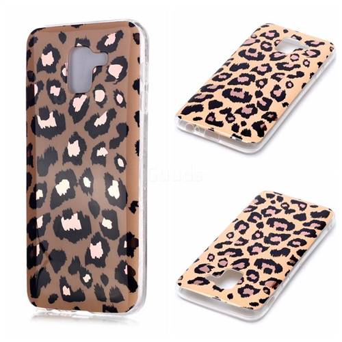 Leopard Galvanized Rose Gold Marble Phone Back Cover for Samsung Galaxy A6 (2018)