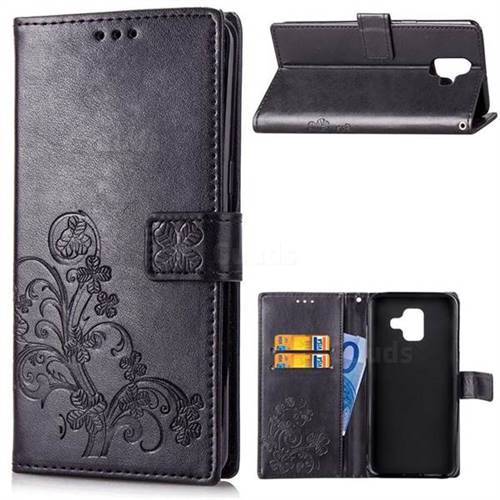 Embossing Imprint Four-Leaf Clover Leather Wallet Case for Samsung Galaxy A6 (2018) - Black
