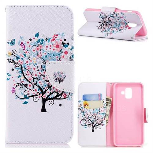 Colorful Tree Leather Wallet Case for Samsung Galaxy A6 (2018)