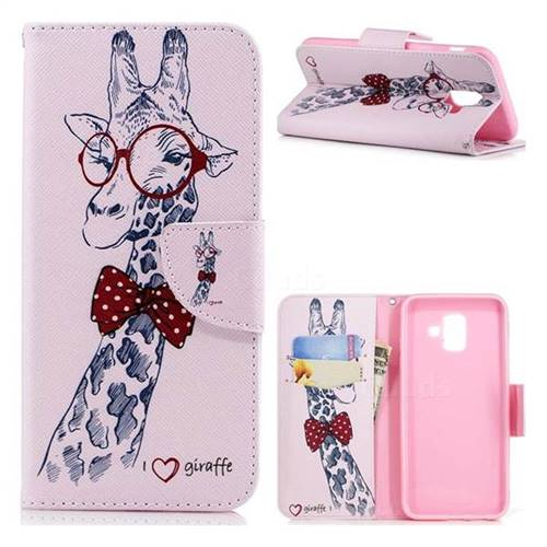 Glasses Giraffe Leather Wallet Case for Samsung Galaxy A6 (2018)