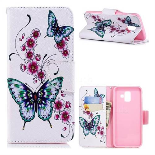 Peach Butterfly Leather Wallet Case for Samsung Galaxy A6 (2018)