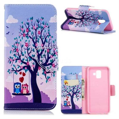 Tree and Owls Leather Wallet Case for Samsung Galaxy A6 (2018)