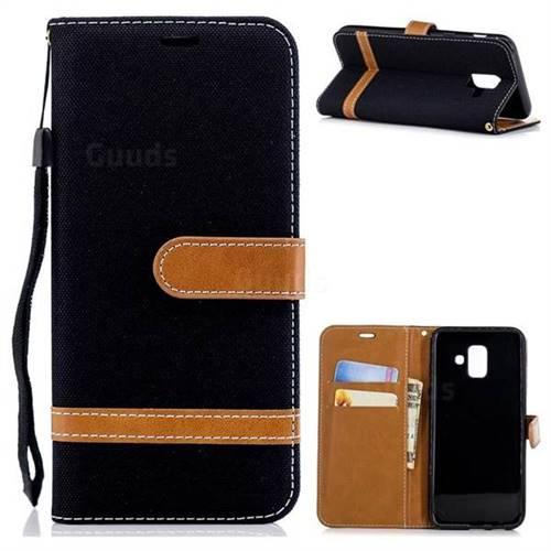 Jeans Cowboy Denim Leather Wallet Case for Samsung Galaxy A6 (2018) - Black