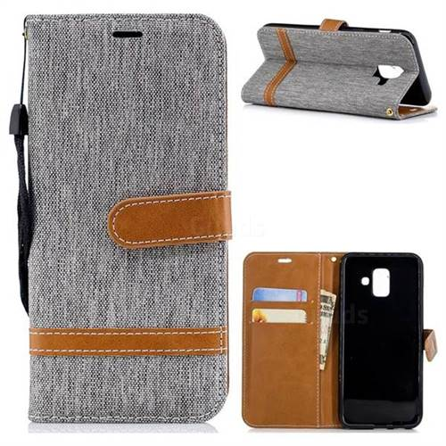 Jeans Cowboy Denim Leather Wallet Case for Samsung Galaxy A6 (2018) - Gray