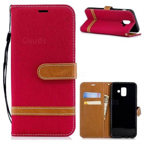 Jeans Cowboy Denim Leather Wallet Case for Samsung Galaxy A6 (2018) - Red