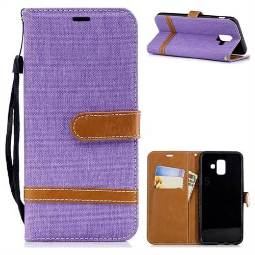 Jeans Cowboy Denim Leather Wallet Case for Samsung Galaxy A6 (2018) - Purple