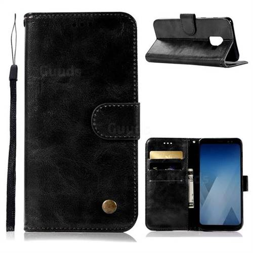 Luxury Retro Leather Wallet Case for Samsung Galaxy A6 (2018) - Black
