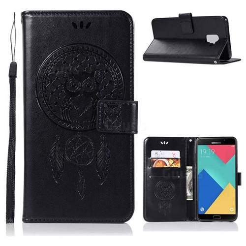 Intricate Embossing Owl Campanula Leather Wallet Case for Samsung Galaxy A6 (2018) - Black