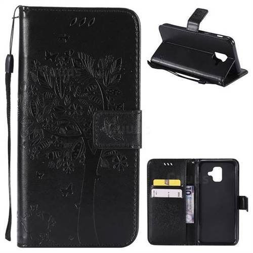 Embossing Butterfly Tree Leather Wallet Case for Samsung Galaxy A6 (2018) - Black