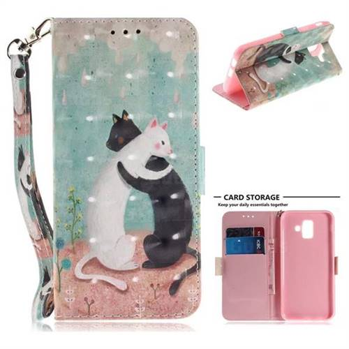 Black and White Cat 3D Painted Leather Wallet Phone Case for Samsung Galaxy A6 (2018)