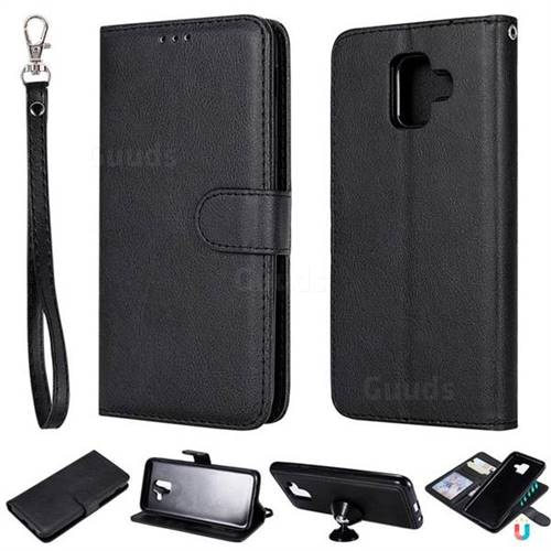 Retro Greek Detachable Magnetic PU Leather Wallet Phone Case for Samsung Galaxy A6 (2018) - Black