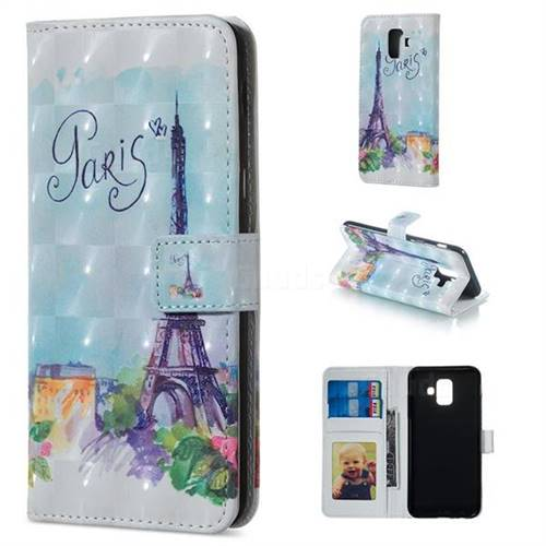 Paris Tower 3D Painted Leather Phone Wallet Case for Samsung Galaxy A6 (2018)