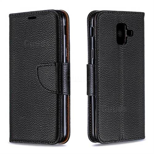 Classic Luxury Litchi Leather Phone Wallet Case for Samsung Galaxy A6 (2018) - Black