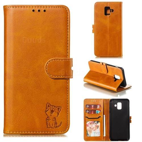 Embossing Happy Cat Leather Wallet Case for Samsung Galaxy A6 (2018) - Yellow