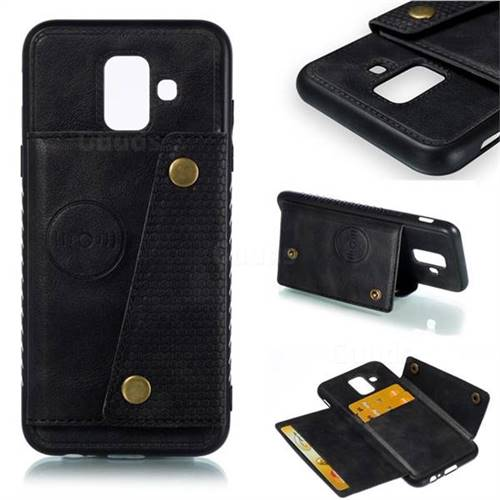 Retro Multifunction Card Slots Stand Leather Coated Phone Back Cover for Samsung Galaxy A6 (2018) - Black