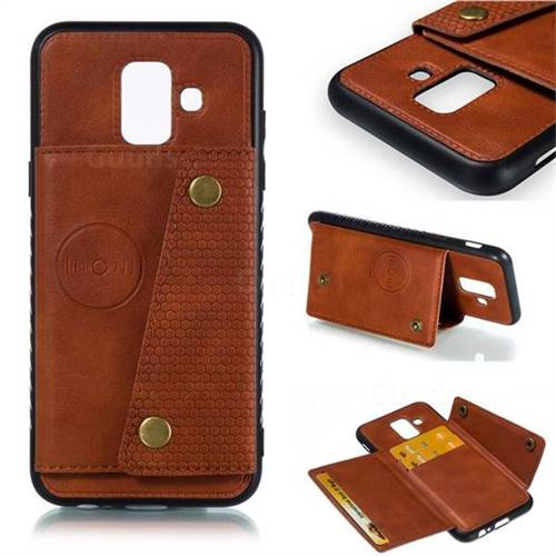 Retro Multifunction Card Slots Stand Leather Coated Phone Back Cover for Samsung Galaxy A6 (2018) - Brown