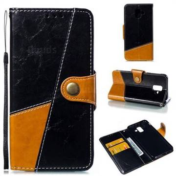 Retro Magnetic Stitching Wallet Flip Cover for Samsung Galaxy A6 (2018) - Black