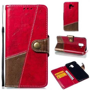 Retro Magnetic Stitching Wallet Flip Cover for Samsung Galaxy A6 (2018) - Rose Red