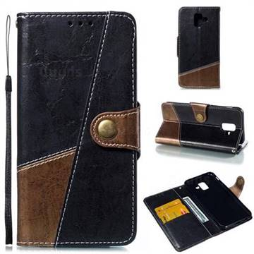Retro Magnetic Stitching Wallet Flip Cover for Samsung Galaxy A6 (2018) - Dark Gray