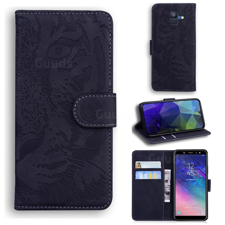 Intricate Embossing Tiger Face Leather Wallet Case for Samsung Galaxy A6 (2018) - Black