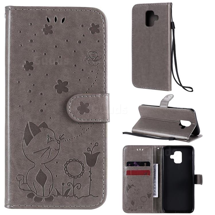 Embossing Bee and Cat Leather Wallet Case for Samsung Galaxy A6 (2018) - Gray