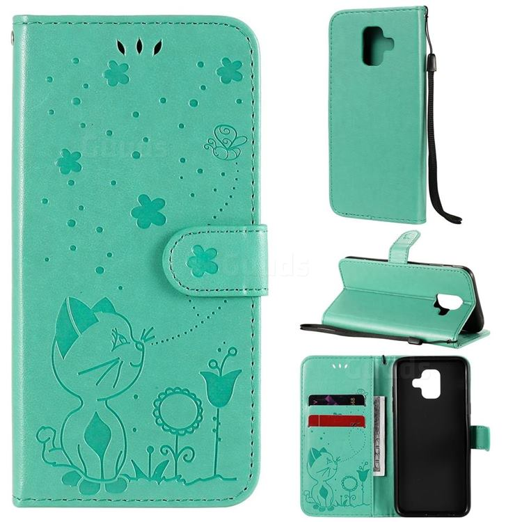 Embossing Bee and Cat Leather Wallet Case for Samsung Galaxy A6 (2018) - Green