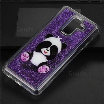 Naughty Panda Glassy Glitter Quicksand Dynamic Liquid Soft Phone Case for Samsung Galaxy A6+ (2018)