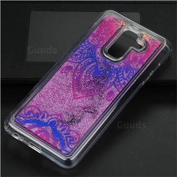 Blue and White Glassy Glitter Quicksand Dynamic Liquid Soft Phone Case for Samsung Galaxy A6+ (2018)