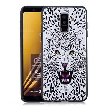 Snow Leopard 3D Embossed Relief Black Soft Back Cover for Samsung Galaxy A6+ (2018)