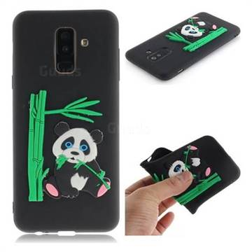 Panda Eating Bamboo Soft 3D Silicone Case for Samsung Galaxy A6+ (2018) - Black