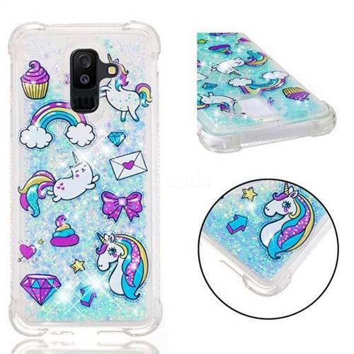 Fashion Unicorn Dynamic Liquid Glitter Sand Quicksand Star TPU Case for Samsung Galaxy A6 Plus (2018)