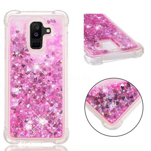 Dynamic Liquid Glitter Sand Quicksand TPU Case for Samsung Galaxy A6+ (2018) - Pink Love Heart