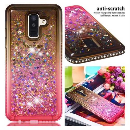 Diamond Frame Liquid Glitter Quicksand Sequins Phone Case for Samsung Galaxy A6 Plus (2018) - Gray Pink