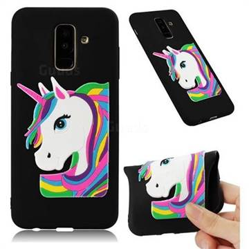 Rainbow Unicorn Soft 3D Silicone Case for Samsung Galaxy A6 Plus (2018) - Black