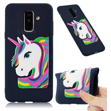 Rainbow Unicorn Soft 3D Silicone Case for Samsung Galaxy A6 Plus (2018) - Navy