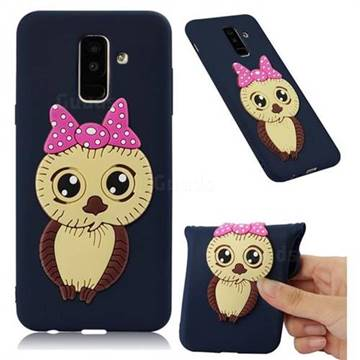 Bowknot Girl Owl Soft 3D Silicone Case for Samsung Galaxy A6 Plus (2018) - Navy