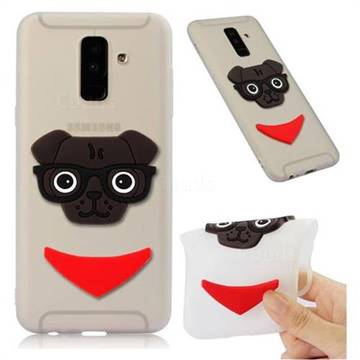 Glasses Dog Soft 3D Silicone Case for Samsung Galaxy A6 Plus (2018) - Translucent White