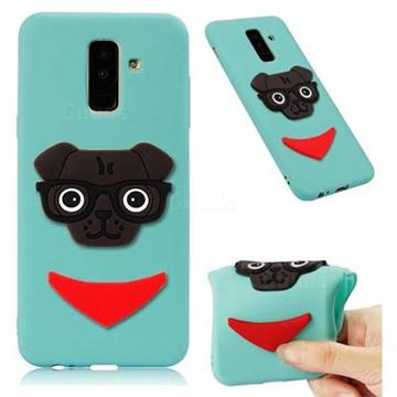 Glasses Dog Soft 3D Silicone Case for Samsung Galaxy A6 Plus (2018) - Sky Blue