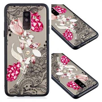 Tulip Lace Diamond Flower Soft TPU Back Cover for Samsung Galaxy A6 Plus (2018)