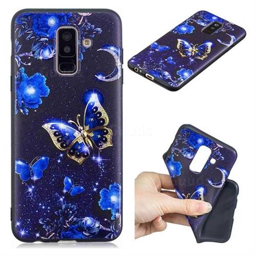 Phnom Penh Butterfly 3D Embossed Relief Black TPU Cell Phone Back Cover for Samsung Galaxy A6 Plus (2018)
