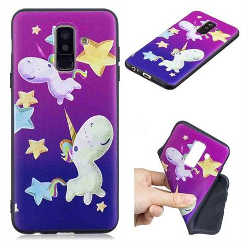 Pony 3D Embossed Relief Black TPU Cell Phone Back Cover for Samsung Galaxy A6 Plus (2018)