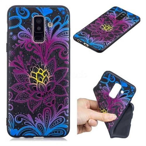 Colorful Lace 3D Embossed Relief Black TPU Cell Phone Back Cover for Samsung Galaxy A6 Plus (2018)