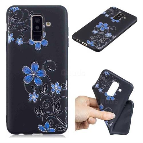 Little Blue Flowers 3D Embossed Relief Black TPU Cell Phone Back Cover for Samsung Galaxy A6 Plus (2018)