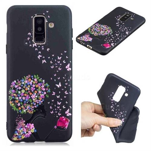 Corolla Girl 3D Embossed Relief Black TPU Cell Phone Back Cover for Samsung Galaxy A6 Plus (2018)