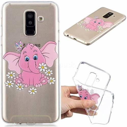 Tiny Pink Elephant Clear Varnish Soft Phone Back Cover for Samsung Galaxy A6 Plus (2018)
