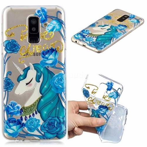 Blue Flower Unicorn Clear Varnish Soft Phone Back Cover for Samsung Galaxy A6 Plus (2018)
