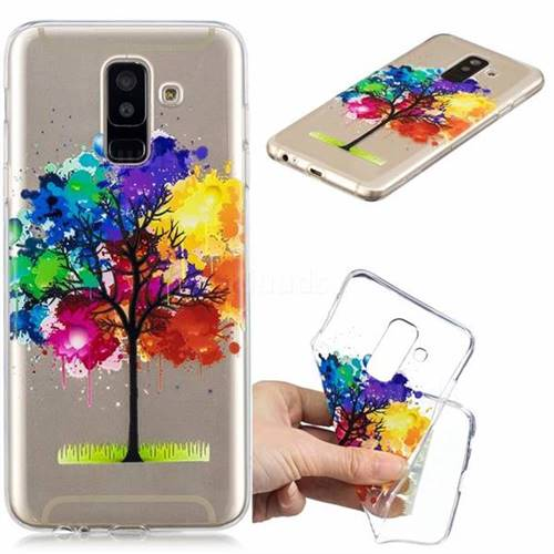 Oil Painting Tree Clear Varnish Soft Phone Back Cover for Samsung Galaxy A6 Plus (2018)