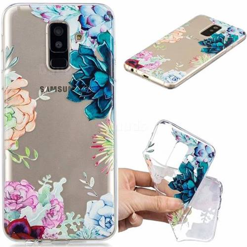 Gem Flower Clear Varnish Soft Phone Back Cover for Samsung Galaxy A6 Plus (2018)